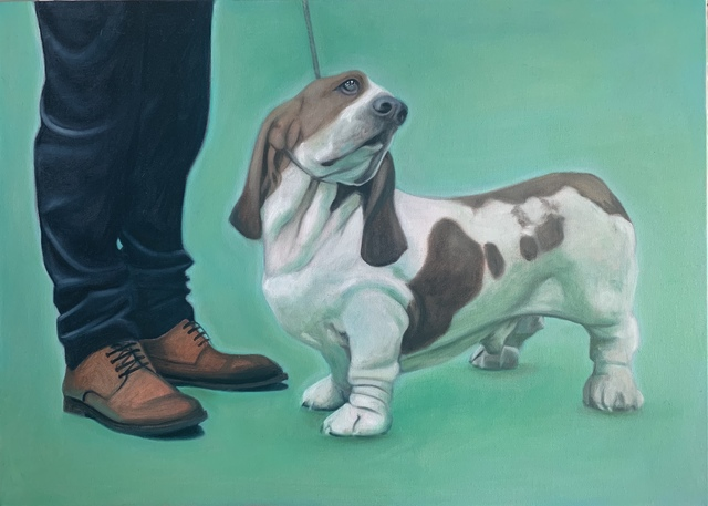 Lydia Blakeley.<em>Hound</em>, 2019. Oil on canvas, 19 5/8 x 27 1/2 in (50 x 70 cm)