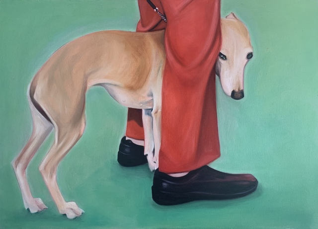 Lydia Blakeley.<em> Whippet</em>, 2019. Oil on canvas, 19 5/8 x 27 1/2 in (50 x 70 cm)