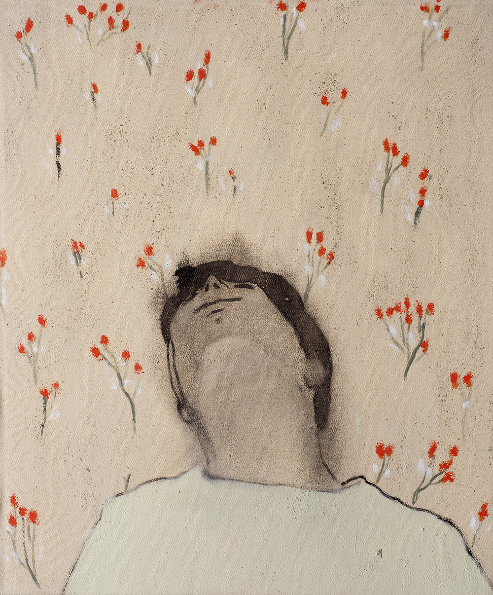 Francisco Rodriguez.<em> Lying</em>, 2019. Oil on canvas, 23 5/8 x 19 5/8 inches (60 x 50 cm)