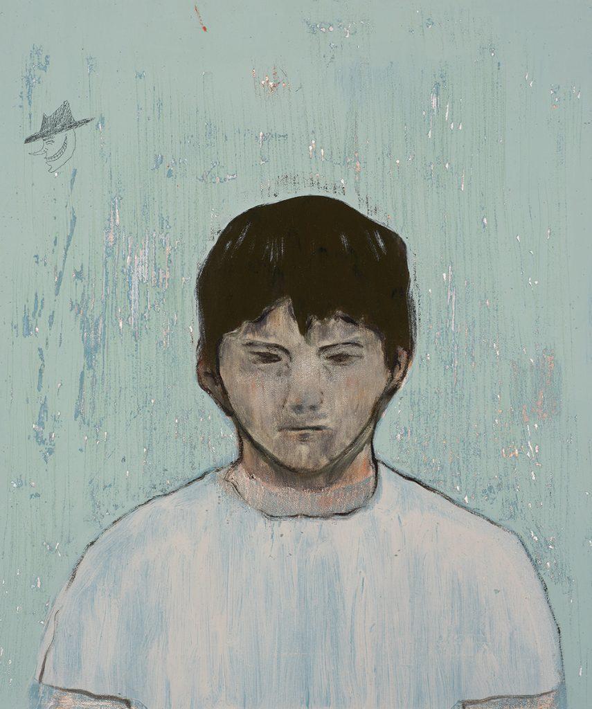 Francisco Rodriguez.<em> Nativo</em>, 2019. Oil on canvas, 5/8 x 19 5/8 inches (60 x 50 cm)