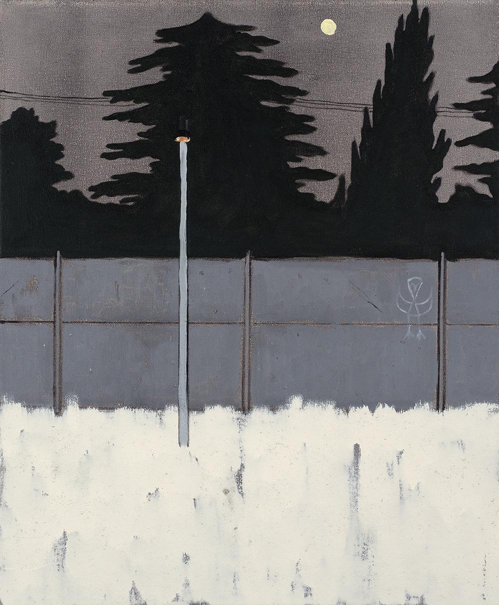Francisco Rodriguez.<em> Street at night</em>, 2019. Oil on canvas, 23 5/8 x 19 5/8 inches (60 x 50 cm)