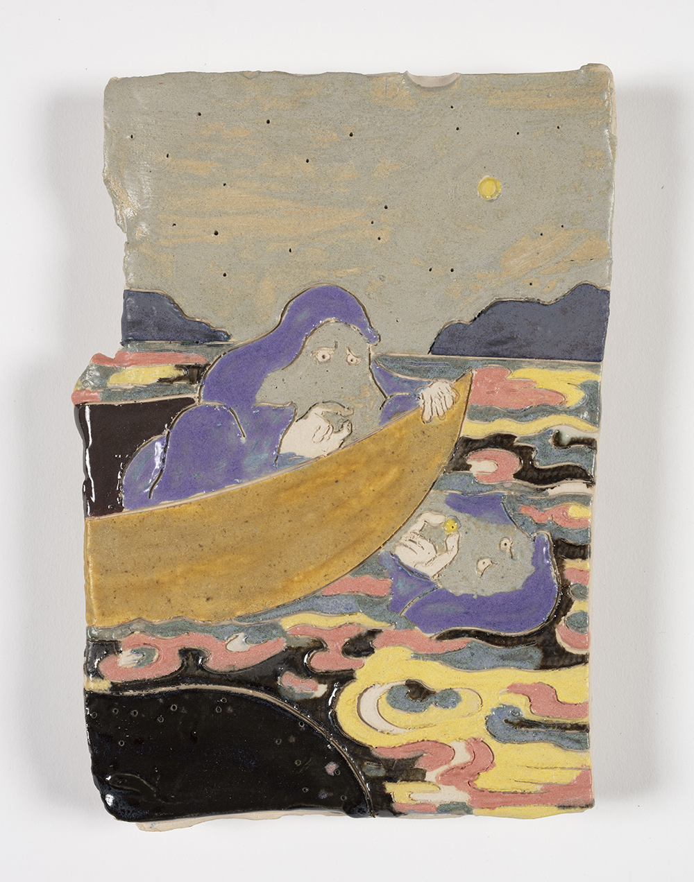 Kevin McNamee-Tweed.<em> Moon In Boat</em>, 2019. Glazed ceramic, 7 1/4 x 5 inches (18.4 x 12.7 cm)