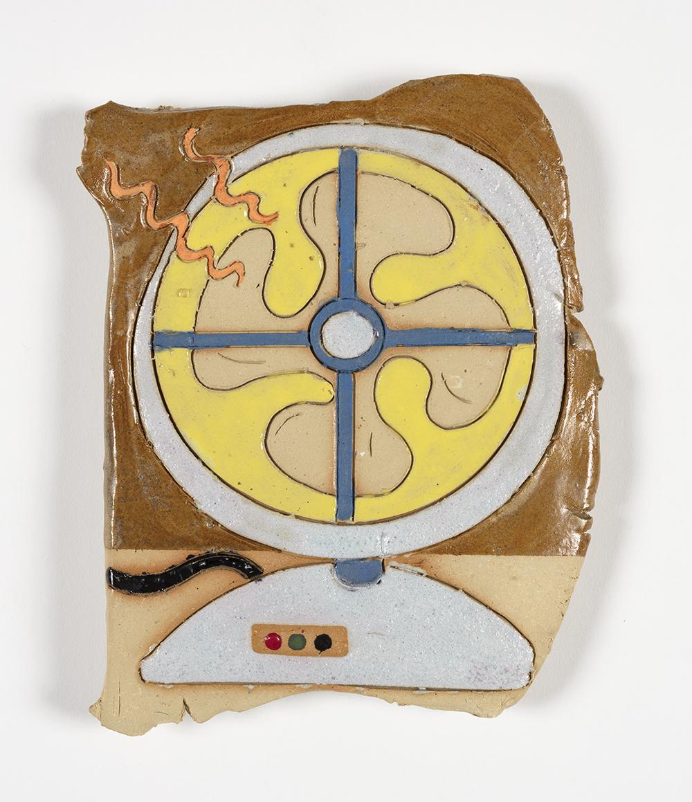 Kevin McNamee-Tweed.<em> Electric Fan</em>, 2019. Glazed ceramic, 9 x 7 inches (22.9 x 17.8 cm)
