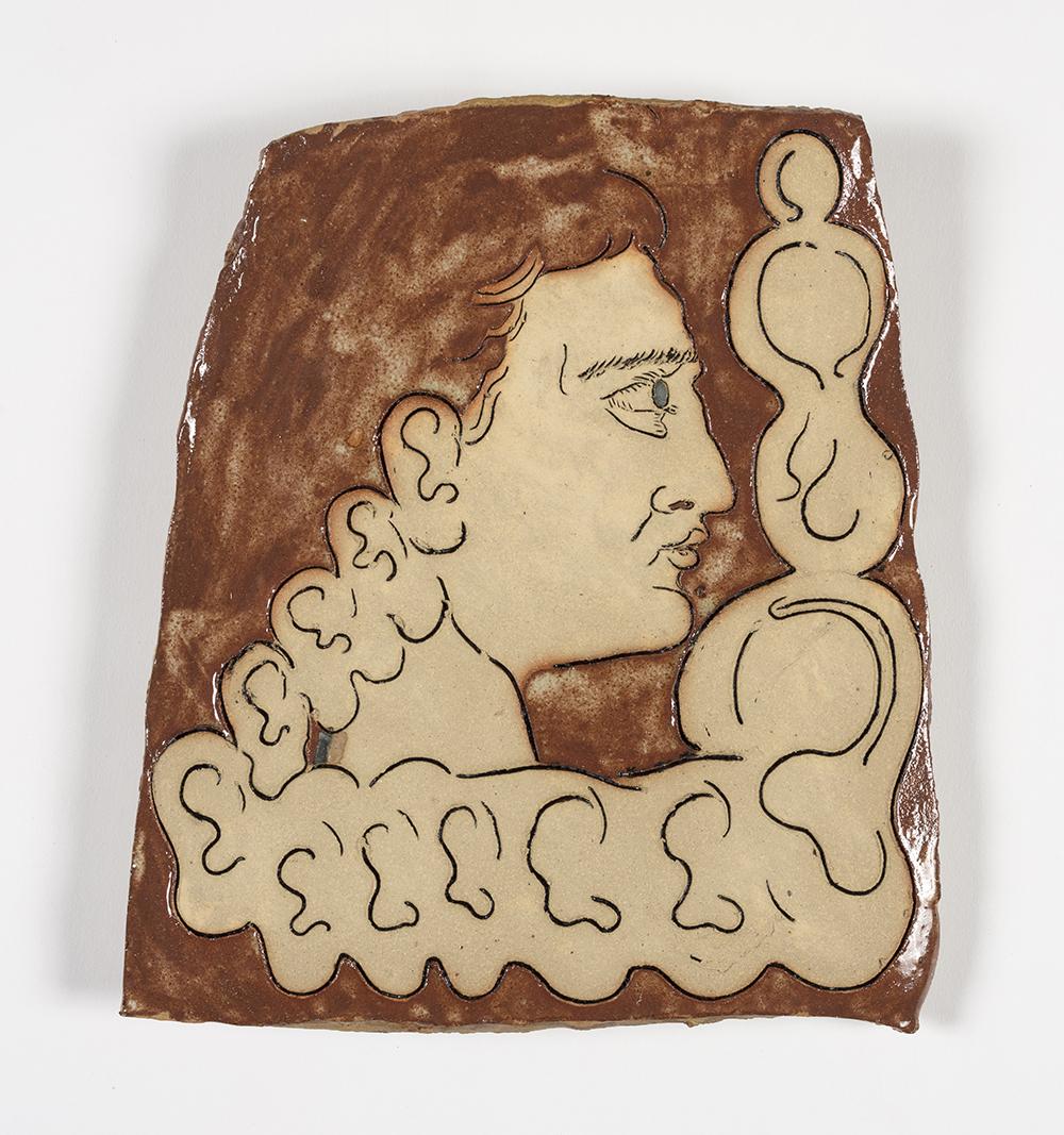 Kevin McNamee-Tweed.<em> Ear Thot</em>, 2019.  Glazed ceramic, 10 1/2 x 8 1/2 inches(26.7 x 21.6 cm)