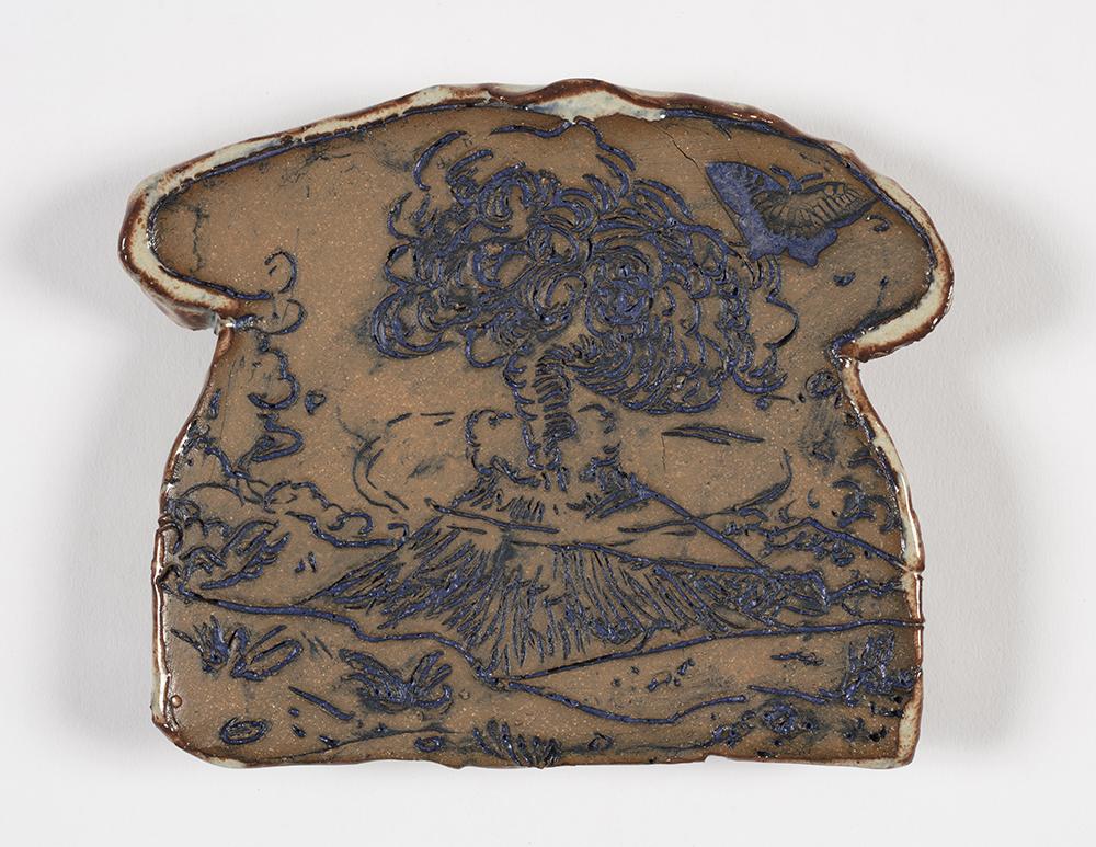 Kevin McNamee-Tweed.<em> Toast</em>, 2019. Glazed ceramic, 4 3/4 x 5 1/2 inches (12.1 x 14 cm)