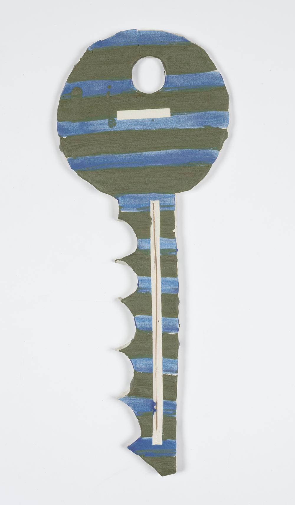 Kevin McNamee-Tweed.<em> Ash Blue Key</em>, 2019. Glazed ceramic, 19 1/2 x 8 inches (49.5 x 20.3 cm)