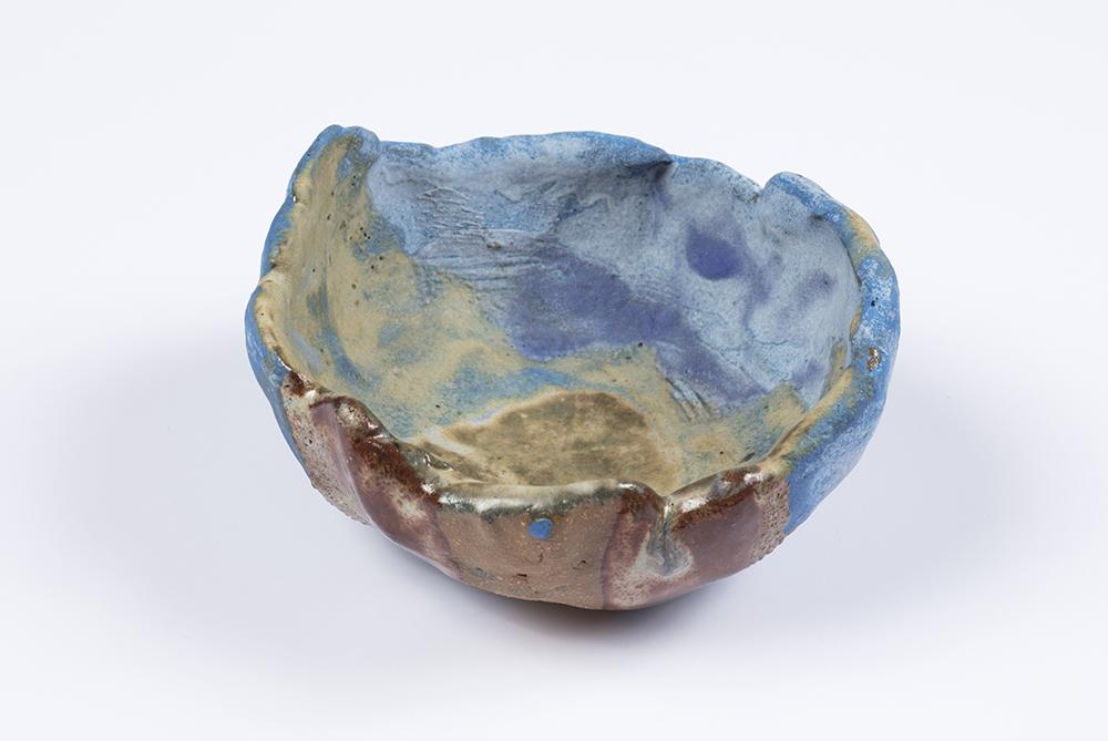 Kevin McNamee-Tweed.<em> Blue Holder</em>, 2019. Glazed ceramic, 3 1/2 x 3 1/2 inches (8.9 x 8.9 cm)