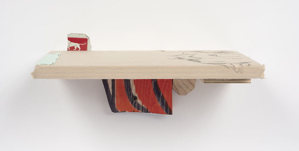 Kevin McNamee-Tweed.<em> Head</em>, 2019. Colored pencil on muslin mounted to wood with affixed aluminum and muslin swatch, 5 1/4 x 12 3/4 x 6 3/4 inches (13.3 x 32.4 x 17.1 cm)