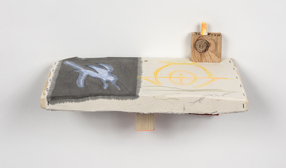 Kevin McNamee-Tweed.<em> Flight</em>, 2019. Ink, colored pencil, and acrylic on muslin mounted to wood with affixed felt and earplug, 8 x 14 3/4 x 6 1/2 inches (20.3 x 37.5 x 16.5 cm)