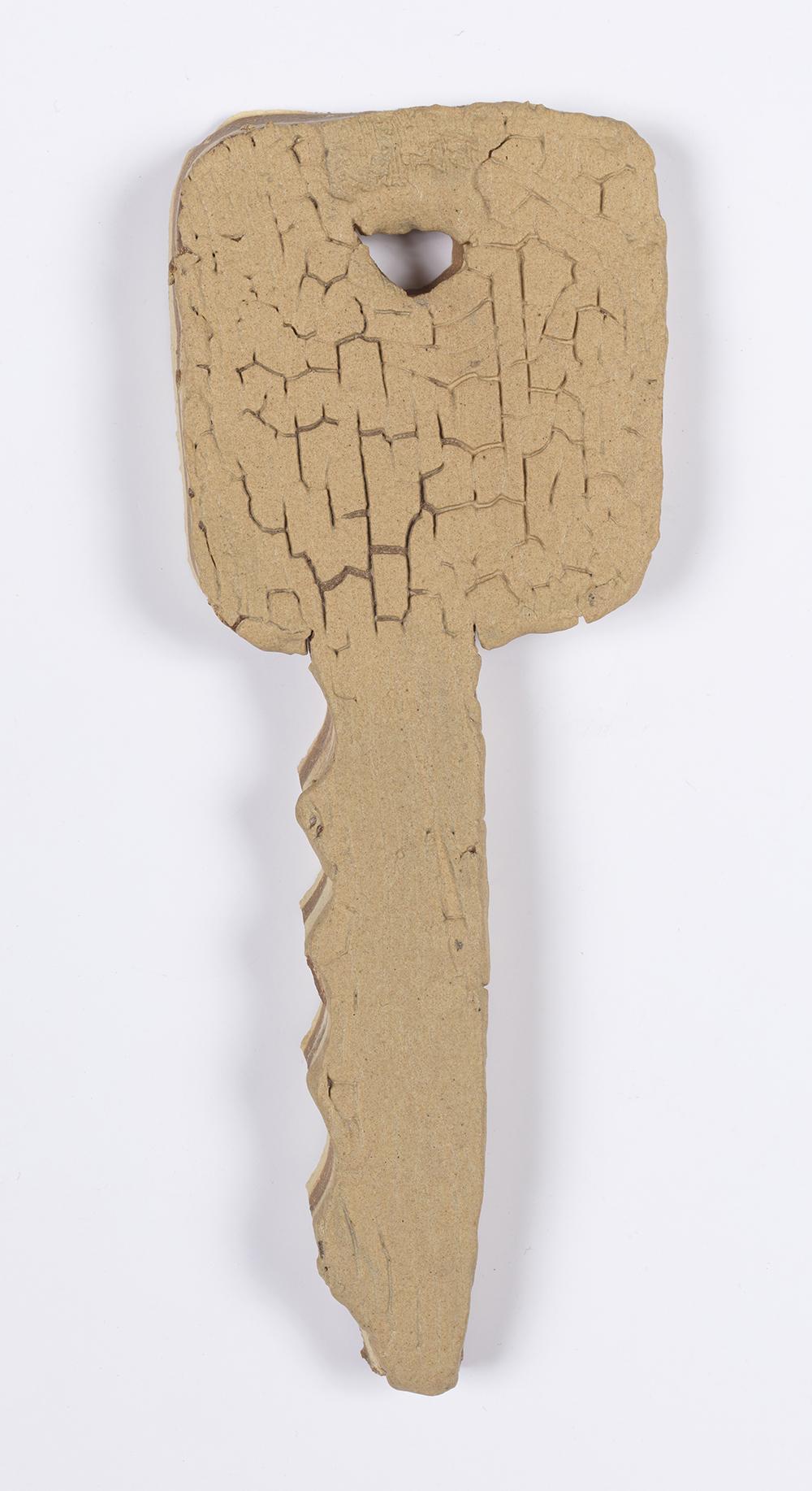 Kevin McNamee-Tweed.<em> Key (Chicharrone)</em>, 2019. Glazed ceramic, 5 3/4 x 2 1/4 inches (14.6 x 5.7 cm)