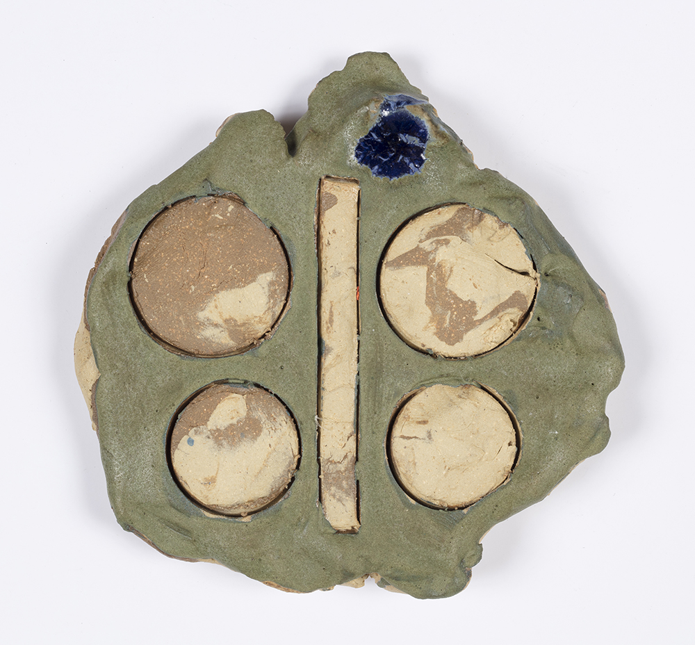 Kevin McNamee-Tweed.<em> Buttroflut</em>, 2019. Glazed ceramic, 4 1/2 x 4 1/2 inches (11.4 x 11.4 cm)