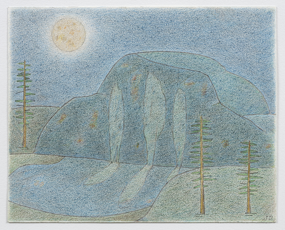 John Dilg.<em> Half Dome Melting</em>, 2019. Colored pencil on arches, 6 x 8 inches (15.2 x 20.3 cm)
