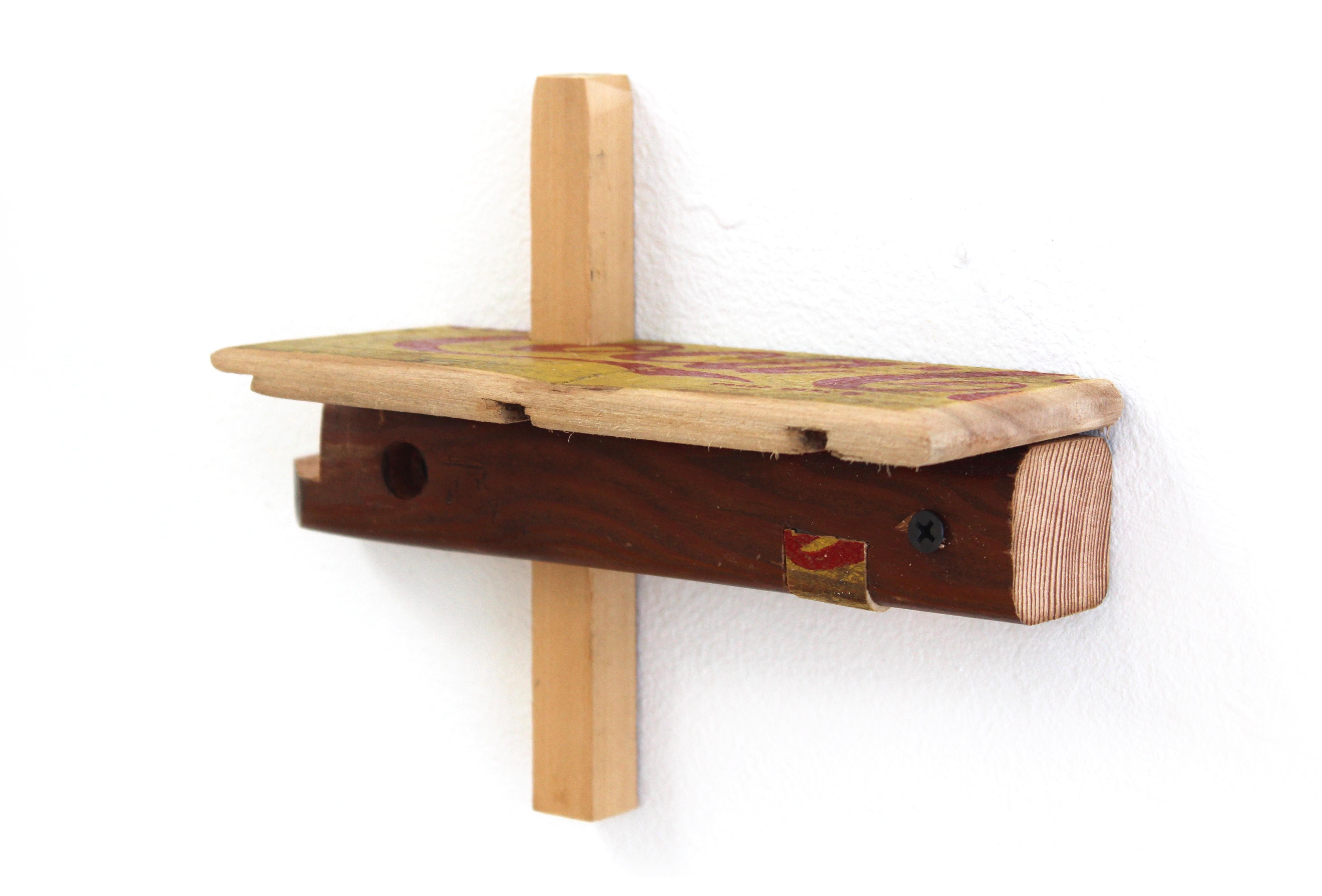 Kevin McNamee-Tweed.<em> Gigi Shelf (alternate)</em>, 2019. Wood with affixed found wood, 6 1/4 x 8 x 3 inches (15.9 x 20.3 x 7.6 cm)