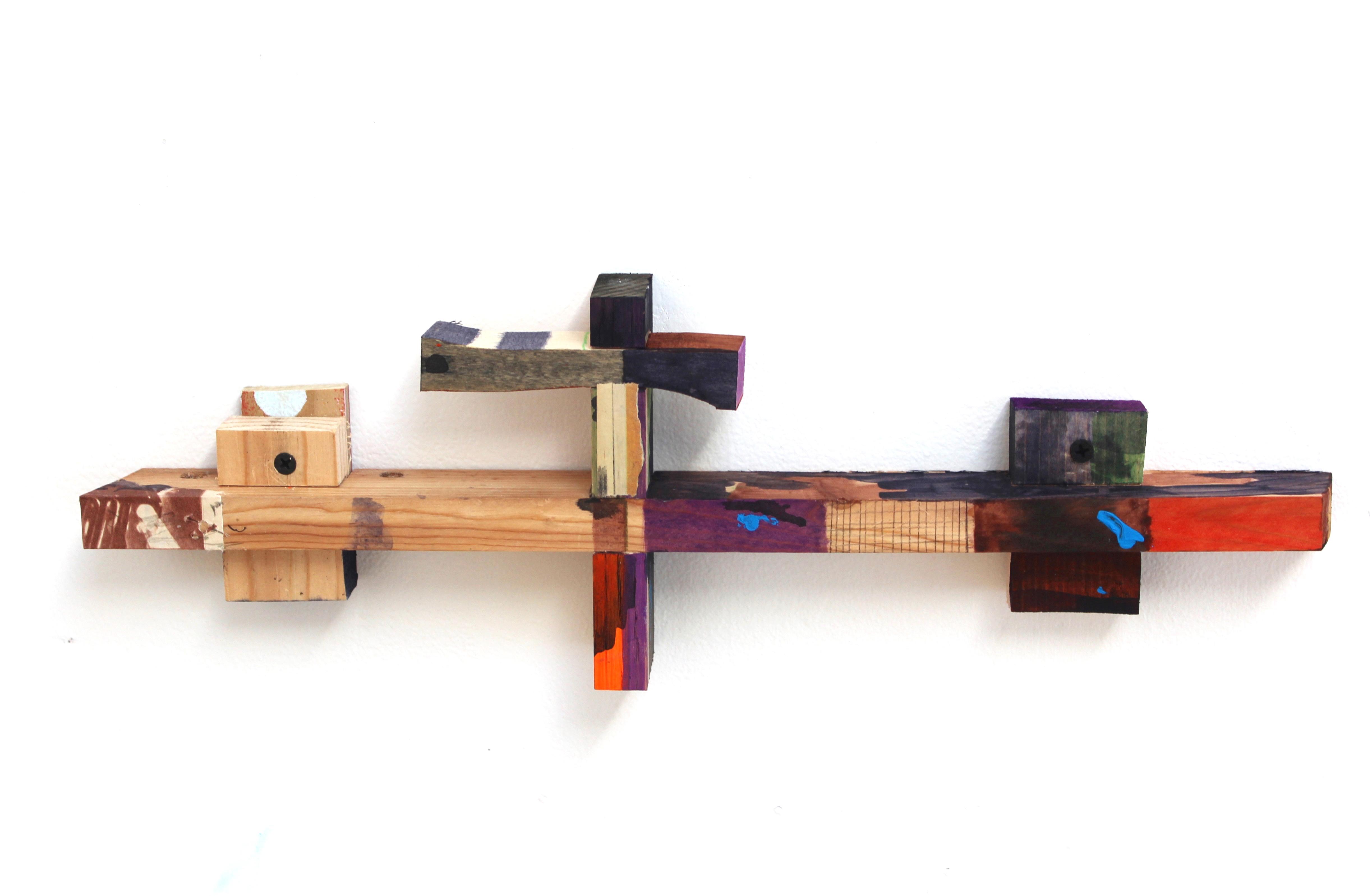 Kevin McNamee-Tweed.<em> Hawk Wind Shelf</em>, 2019. Acrylic and ink on wood, 5 3/4 x 17 1/4 x 1 3/4 inches (14.6 x 43.8 x 4.4 cm)