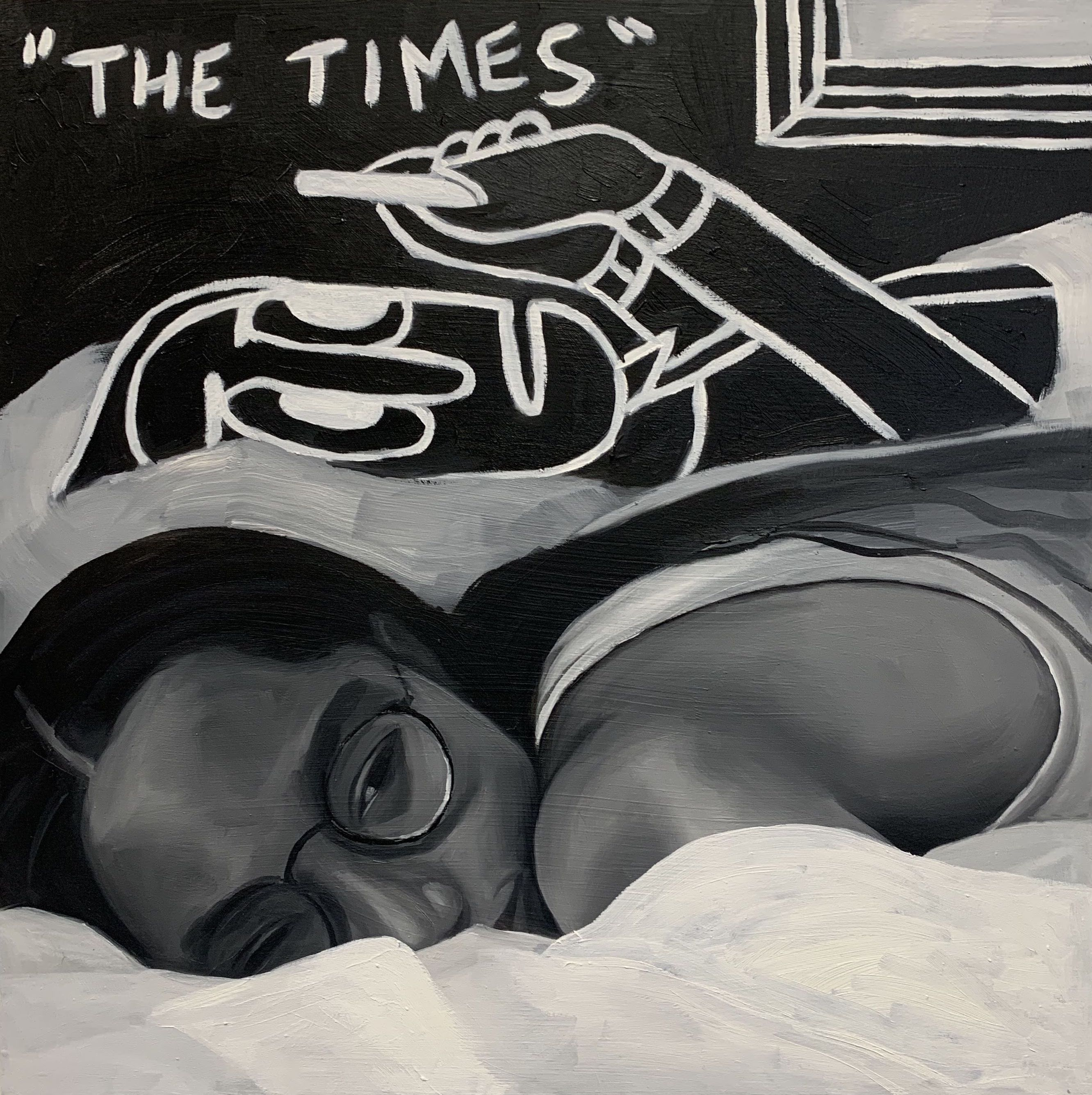Brittany Tucker.<em> The Times</em>, 2019. Oil on panel, 12 x 12 inches (30.5 x 30.5 cm)