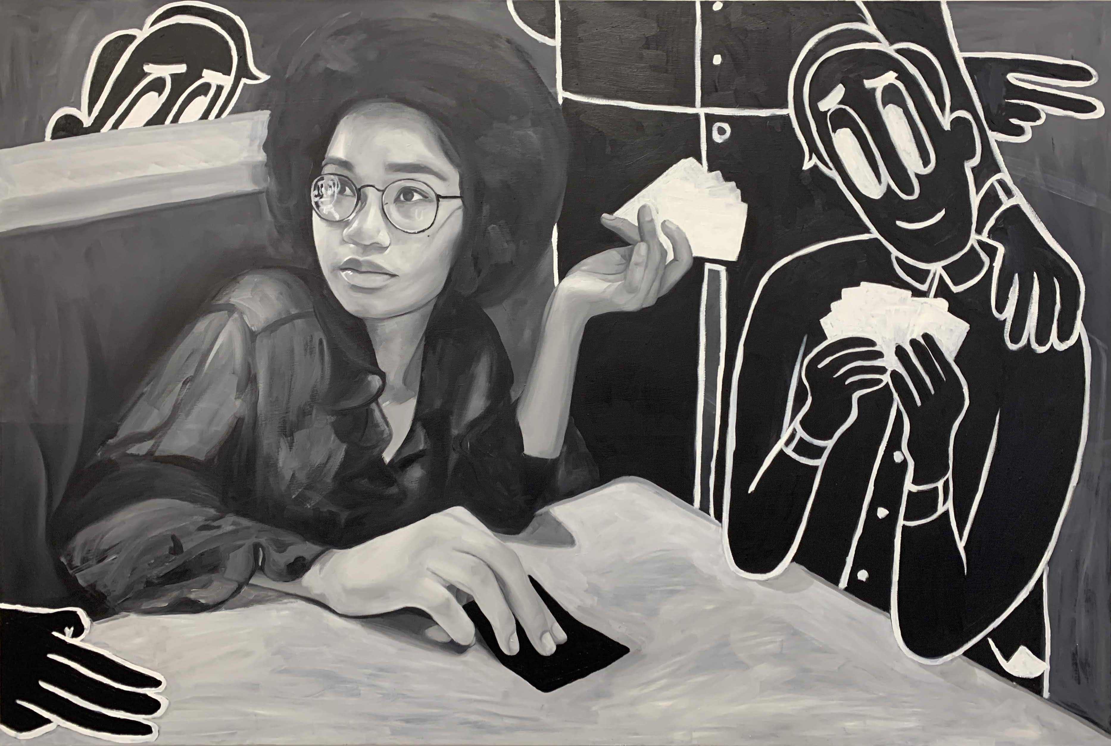 Brittany Tucker.<em> Can I Pay By Card?</em>, 2019. Oil on panel, 24 x 36 inches (61 x 91.4 cm)