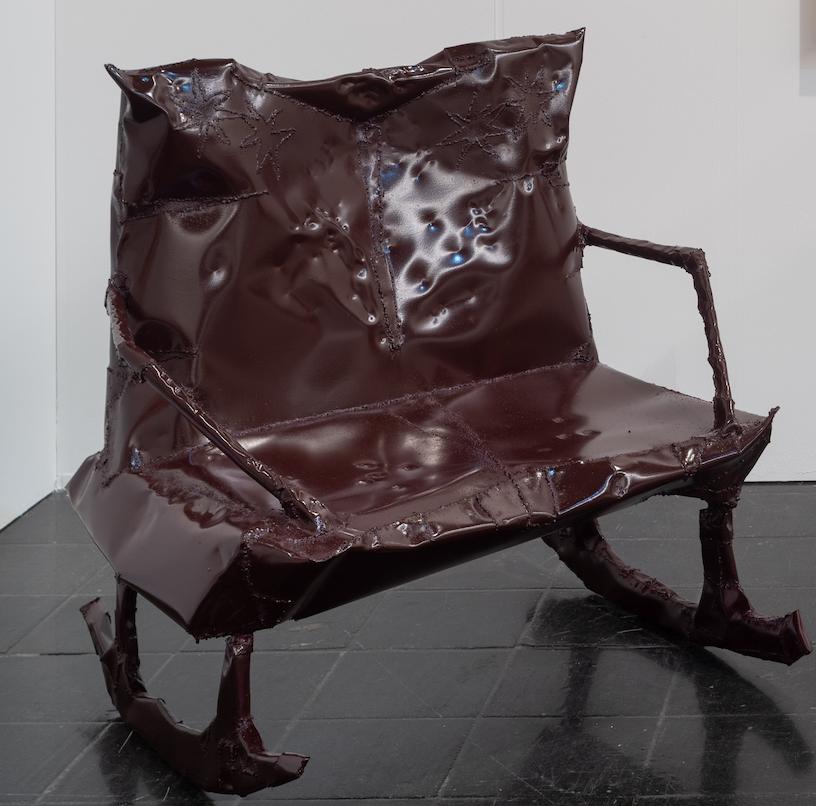 Jesse Pollock.<em> Rocker</em>, 2019. Mild steel, enamel paint, 41 3/8 x 31 1/2 x 47 1/4 inches (105 x 80 x 120 cm)