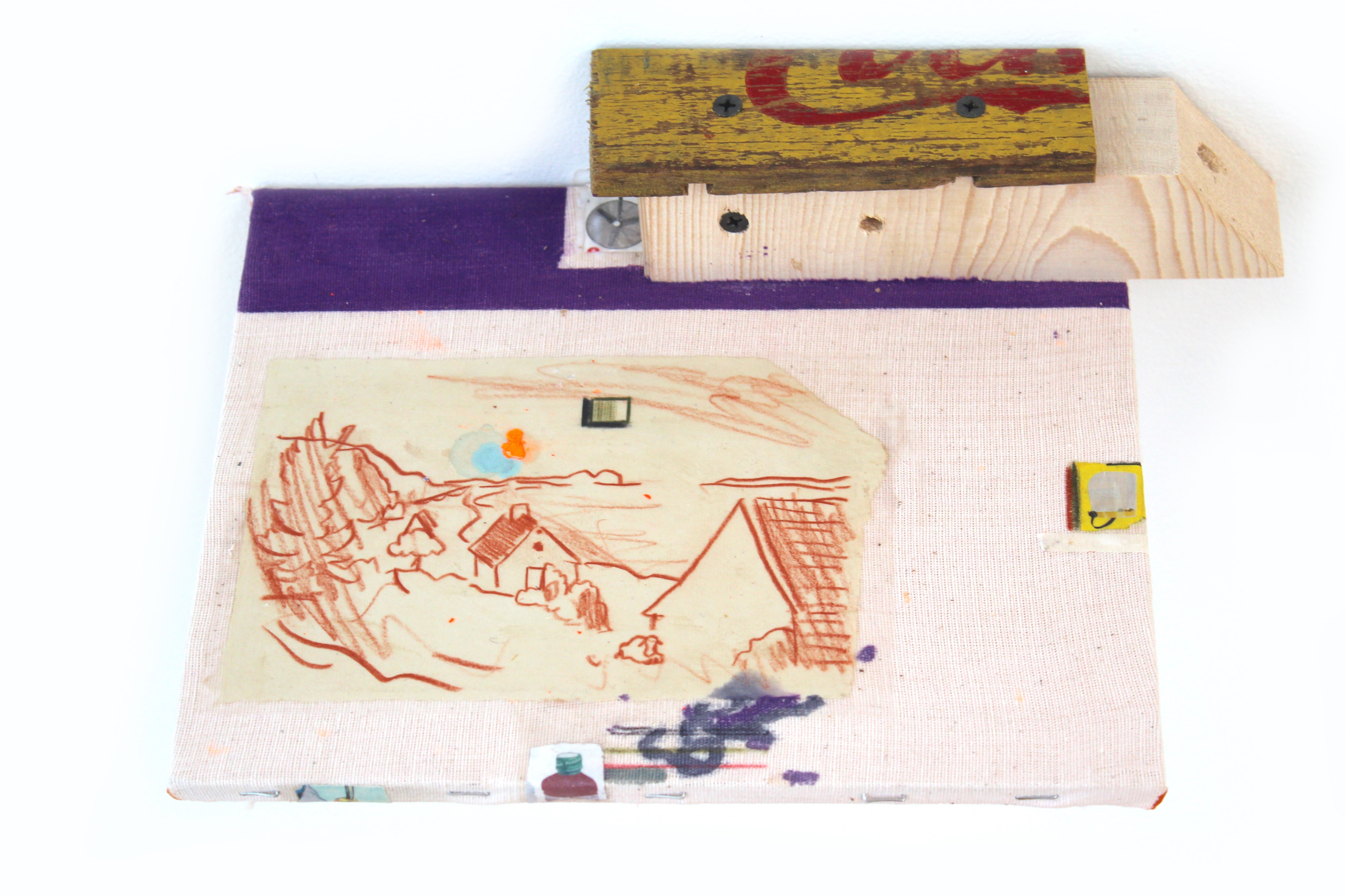 Kevin McNamee-Tweed.<em> Struck Shelf</em>, 2019. Ink and colored pencil on muslin mounted to wood with affixed pencil on paper drawing, newsprint, and found wood, 2 1/2 x 11 3/4 x 8 inches (6.4 x 29.8 x 20.3 cm)