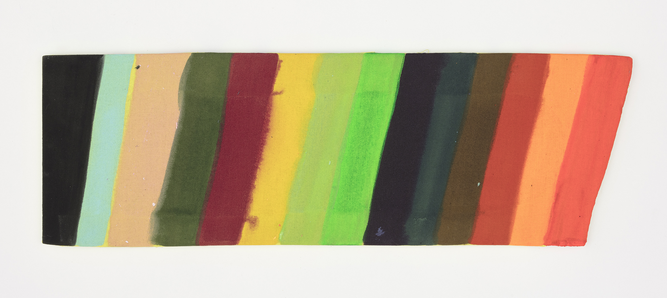 Kevin McNamee-Tweed.<em> Untitled</em>, 2019. Acrylic and colored pencil on muslin, 5 3/4 x 17 inches (14.6 x 43.2 cm)