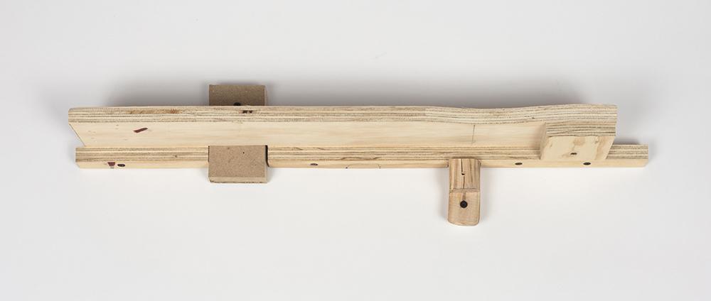 Kevin McNamee-Tweed.<em> Arkansas</em>, 2019. Wood, 6 x 24 1/4 x 3 1/4 inches (15.2 x 61.6 x 8.3 cm)