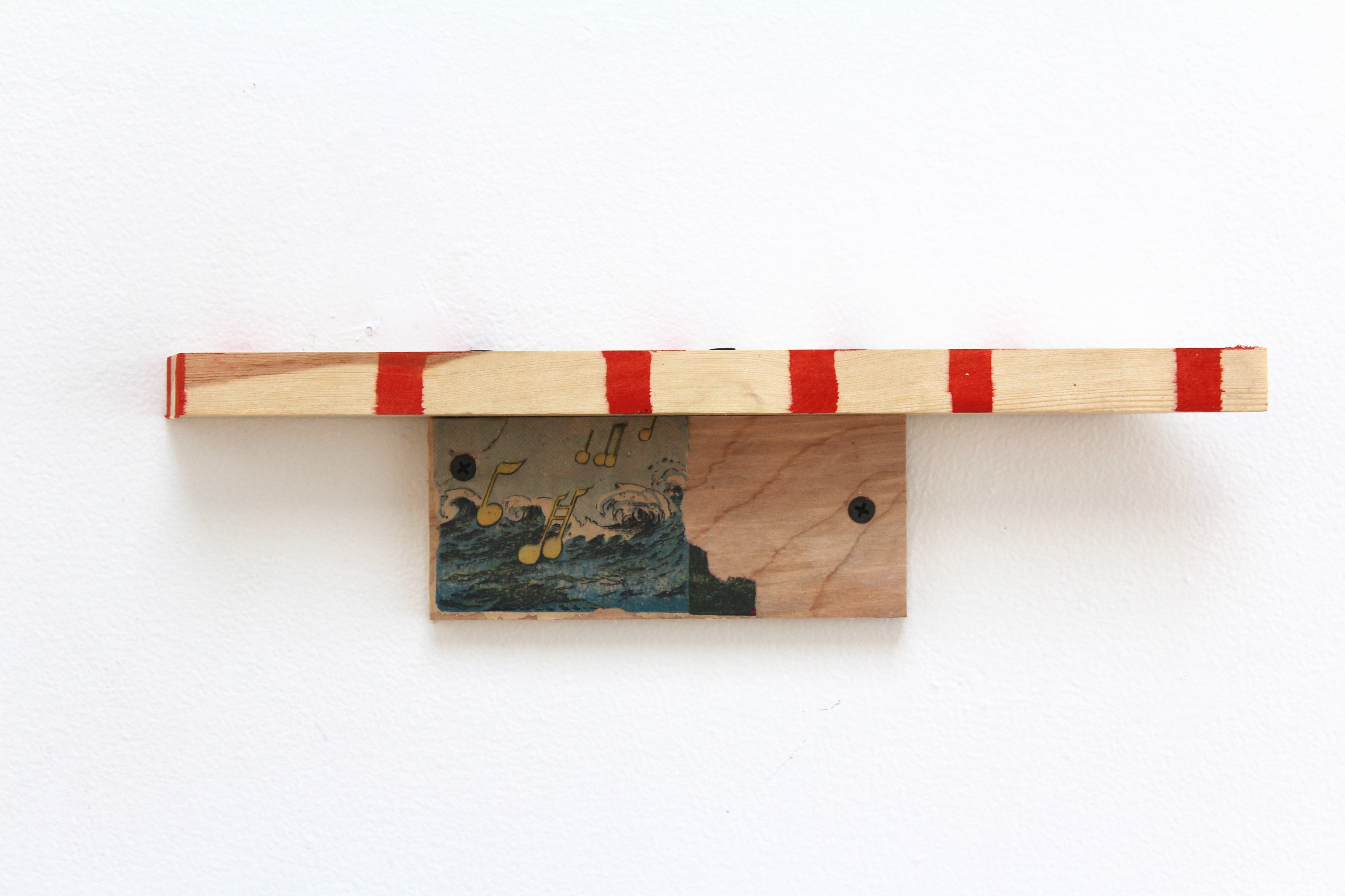 Kevin McNamee-Tweed.<em> Uptimed Shelf</em>, 2019. Ink and newsprint on wood, 3 1/4 x 13 1/2 x 1 3/4 inches (8.3 x 34.3 x 4.4 cm)
