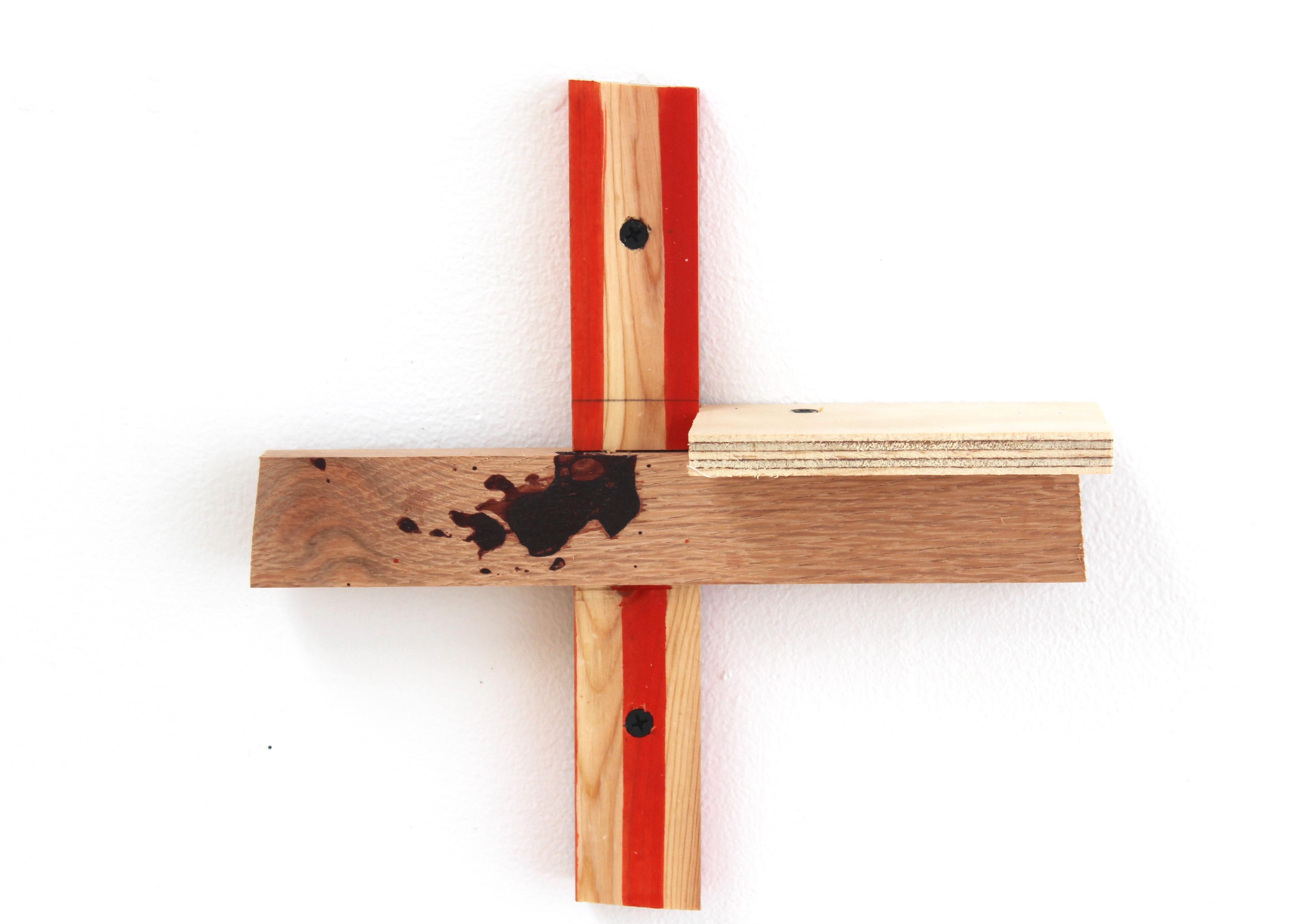 Kevin McNamee-Tweed.<em> Xentri Shelf</em>, 2019. Ink on wood, 10 x 10 1/4 x 2 3/4 inches (25.4 x 26 x 7 cm)