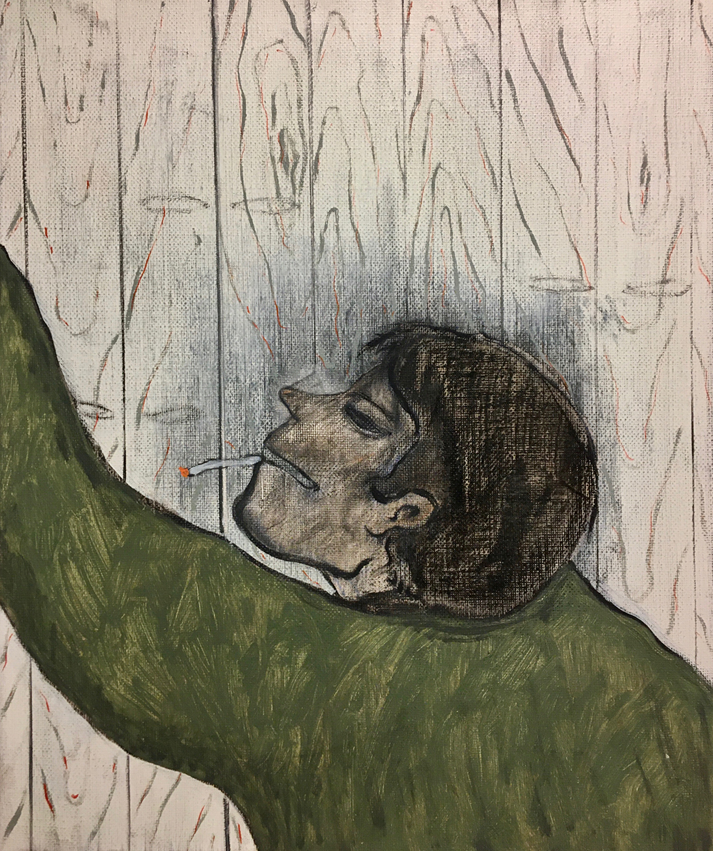 Francisco Rodriguez.<em> Head Two</em>, 2019. Oil and charcoal on linen, 23 5/8 x 19 5/8 inches (60 x 50 cm)