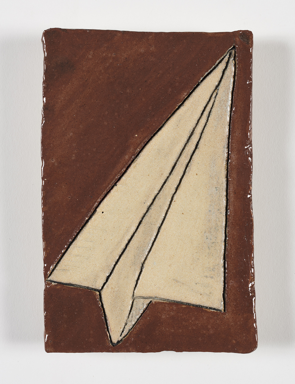 Kevin McNamee-Tweed.<em> Paper Airplane</em>, 2019. Glazed ceramic, 5 1/2 x 4 inches (14 x 10.2 cm)