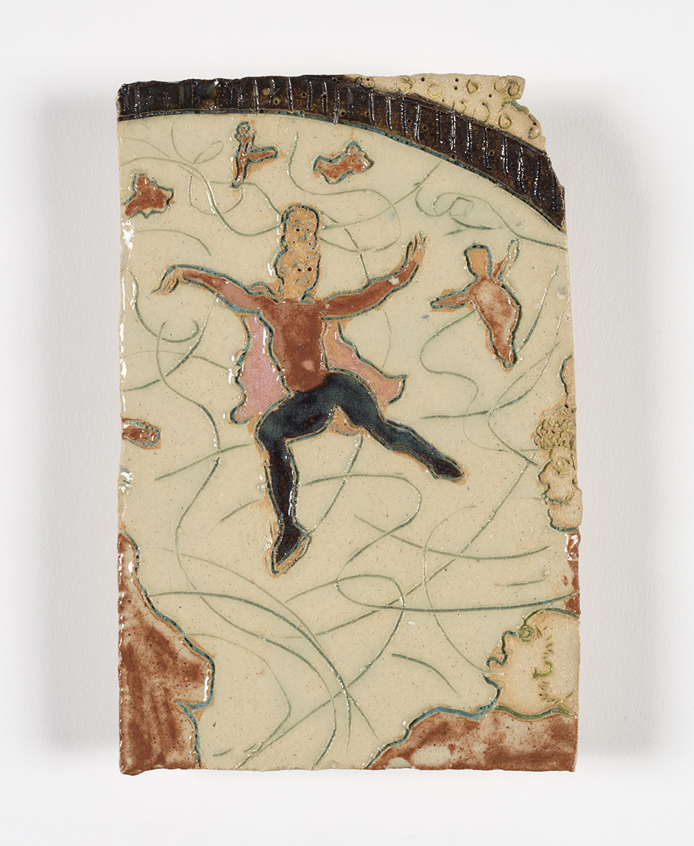 Kevin McNamee-Tweed.<em> Skaters</em>, 2019. Glazed ceramic, 5 1/2 x 3 3/4 inches (14 x 9.5 cm)