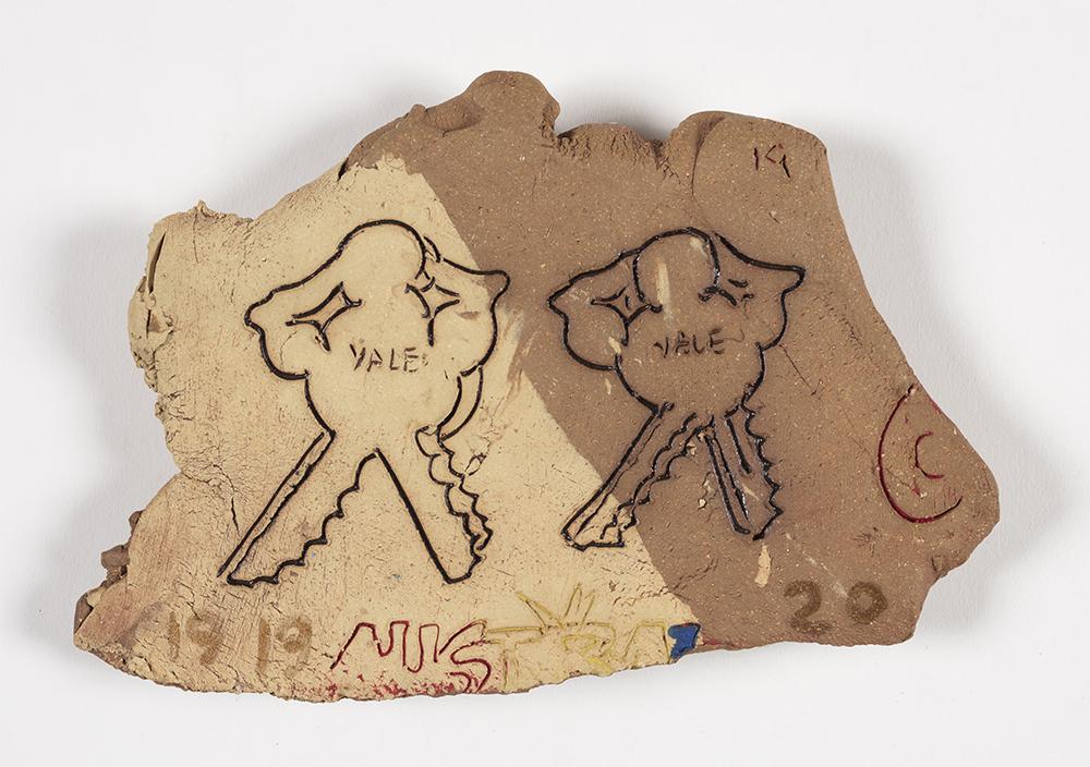 Kevin McNamee-Tweed.<em> Yale (Keys)</em>, 2019. Glazed ceramic, 5 x 7 1/2 inches (12.7 x 19.1 cm)
