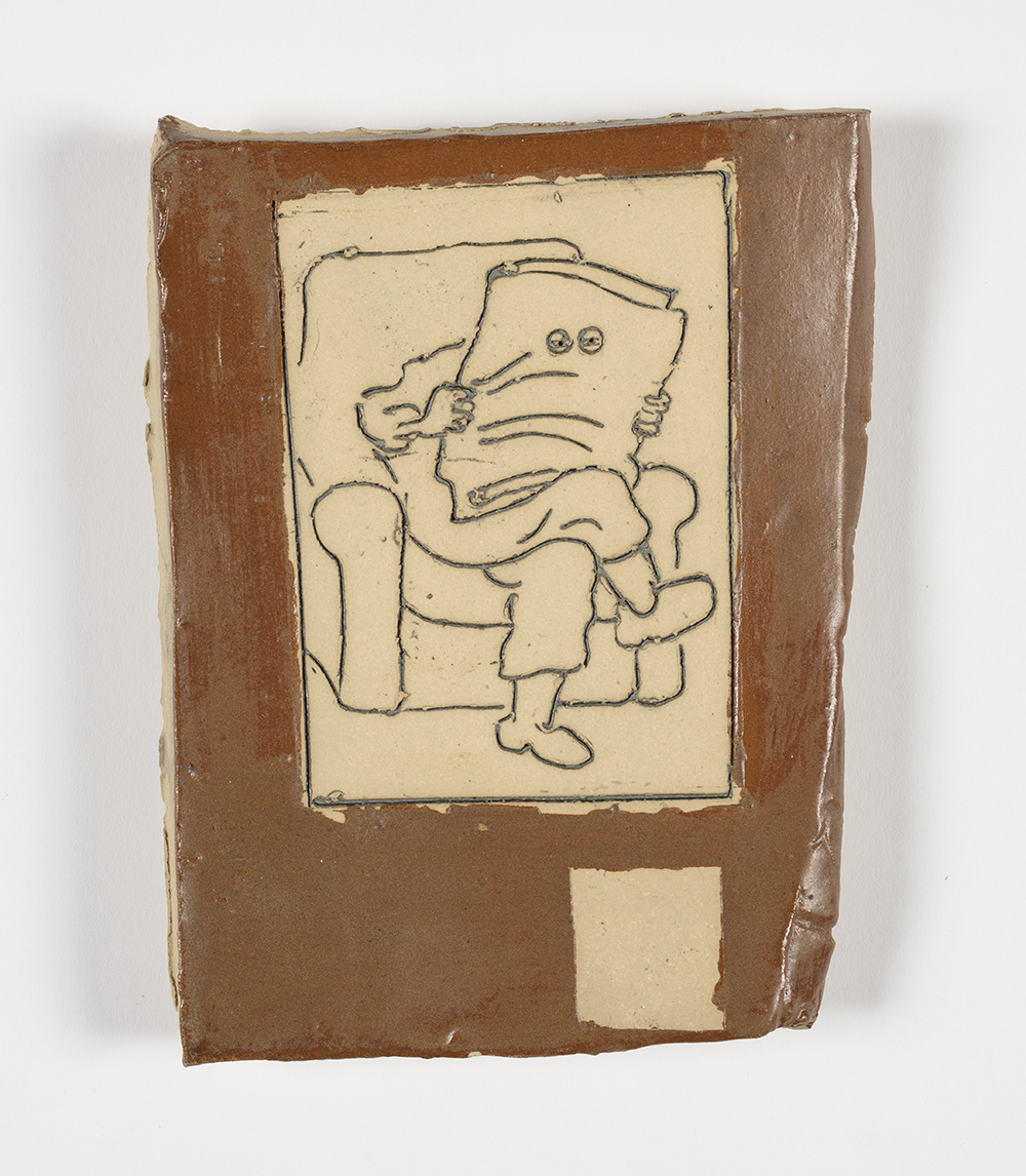 Kevin McNamee-Tweed.<em> Reader</em>, 2019. Glazed ceramic, 7 1/2 x 6 inches (19.1 x 15.2 cm)