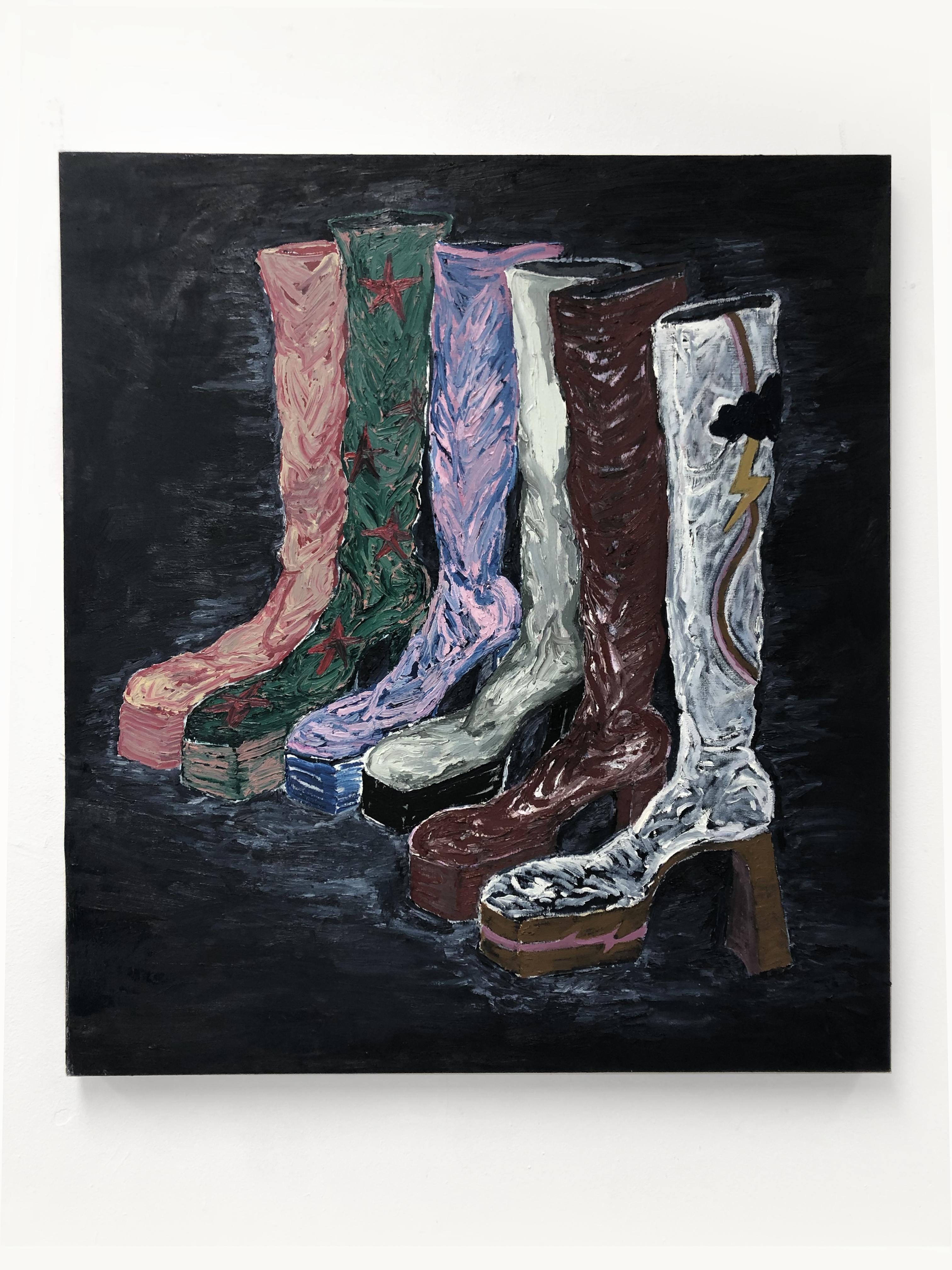 Stevie Dix.<em> Frontière</em>, 2019. Oil on canvas, 39 3/8 x 35 3/8 inches (100 x 90 cm)
