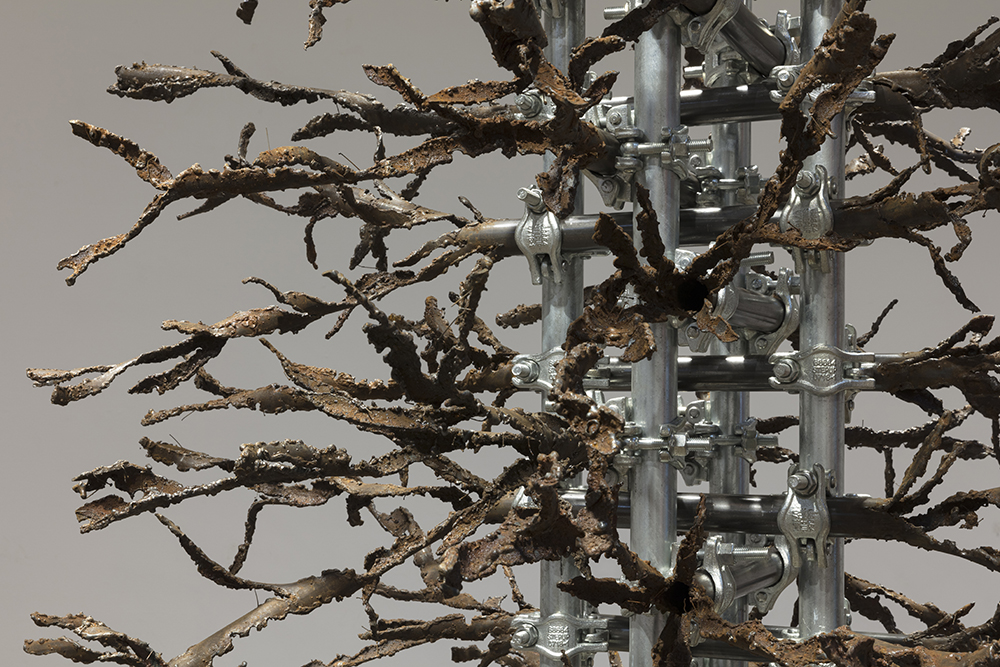 Luciana Lamothe. <em> Air Burn</em>, 2019. Iron pipes and clamps, 128 x 60 x 60 inches (325.1 x 152.4 x 152.4 cm)(detail)