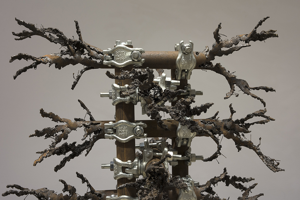 Luciana Lamothe. <em> Straight Burn, 1</em>, 2019. Iron pipes and clamps, 42 x 28 x 28 inches (106.7 x 71.1 x 71.1 cm) (detail)
