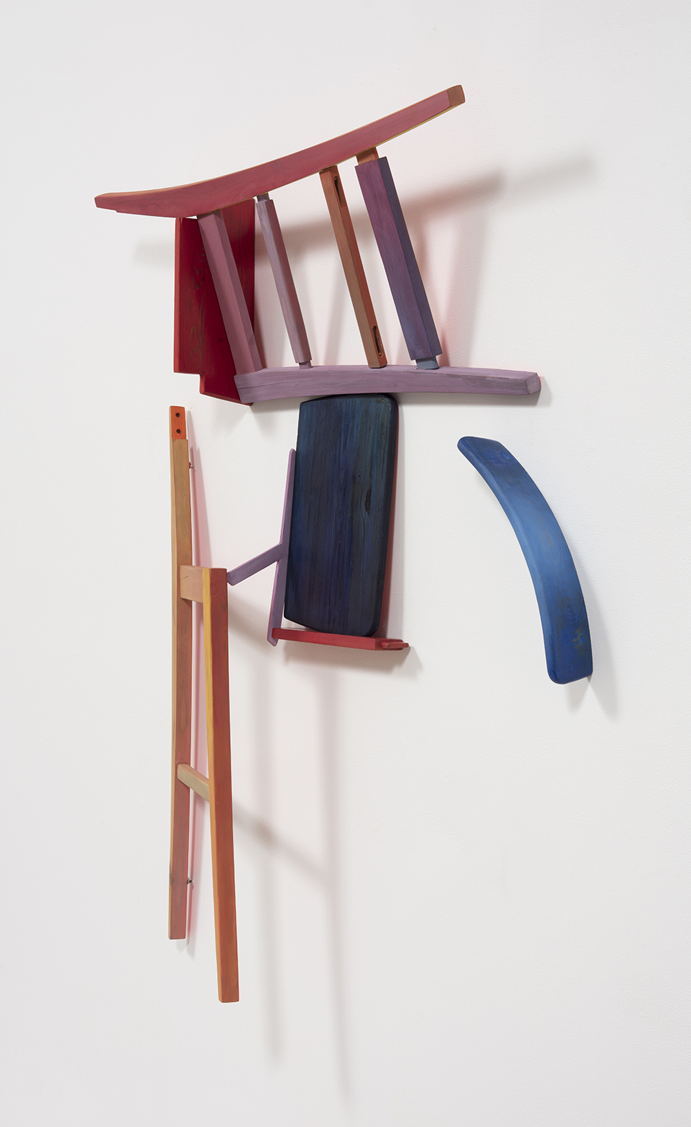 Gabrielle D'Angelo.<em> Chair Piece</em>, 2019. Wood, milk and flash paint, dye, varnish, 56 x 42 x 8 inches (142.2 x 106.7 x 20.3 cm)