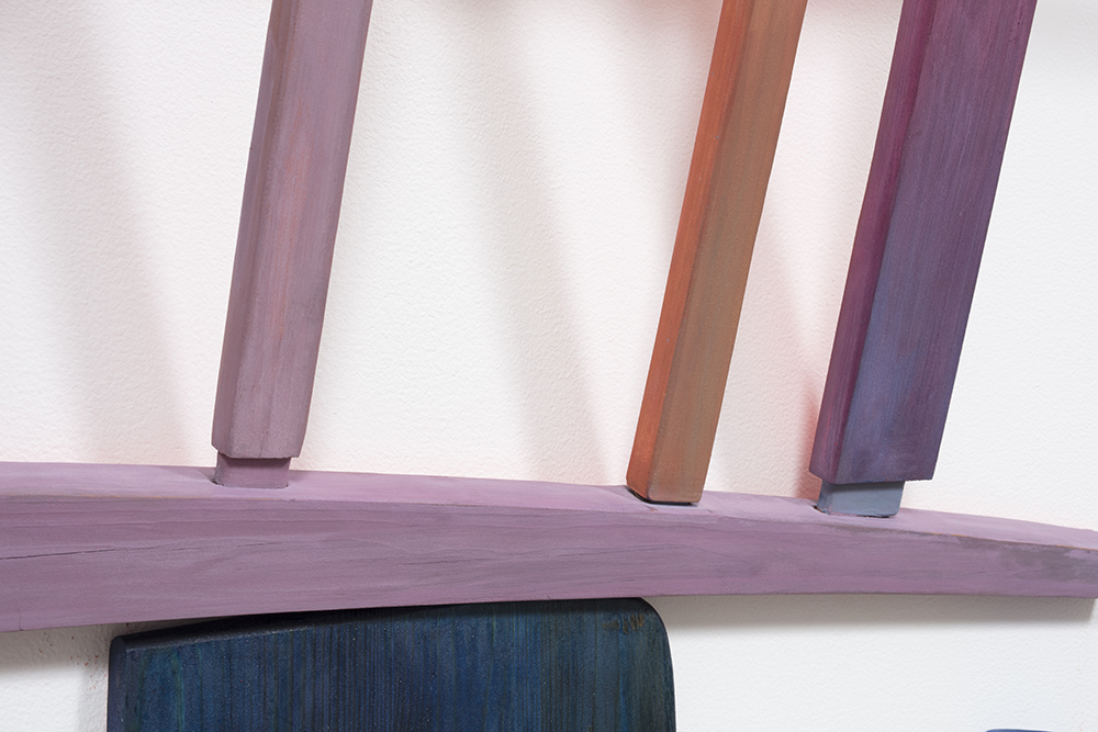 Gabrielle D'Angelo.<em> Chair Piece</em>, 2019. Wood, milk and flash paint, dye, varnish, 56 x 42 x 8 inches (142.2 x 106.7 x 20.3 cm) Detail