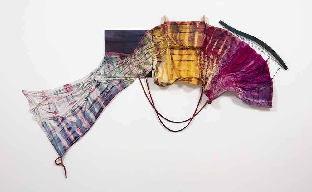 Gabrielle D'Angelo.<em> Like A Flower's Knowledge</em>, 2019. Dyed cotton fabric, wood, rope, sand, 88 x 124 x 7 1/2 inches (223.5 x 315 x 1808.5 cm) (detail)