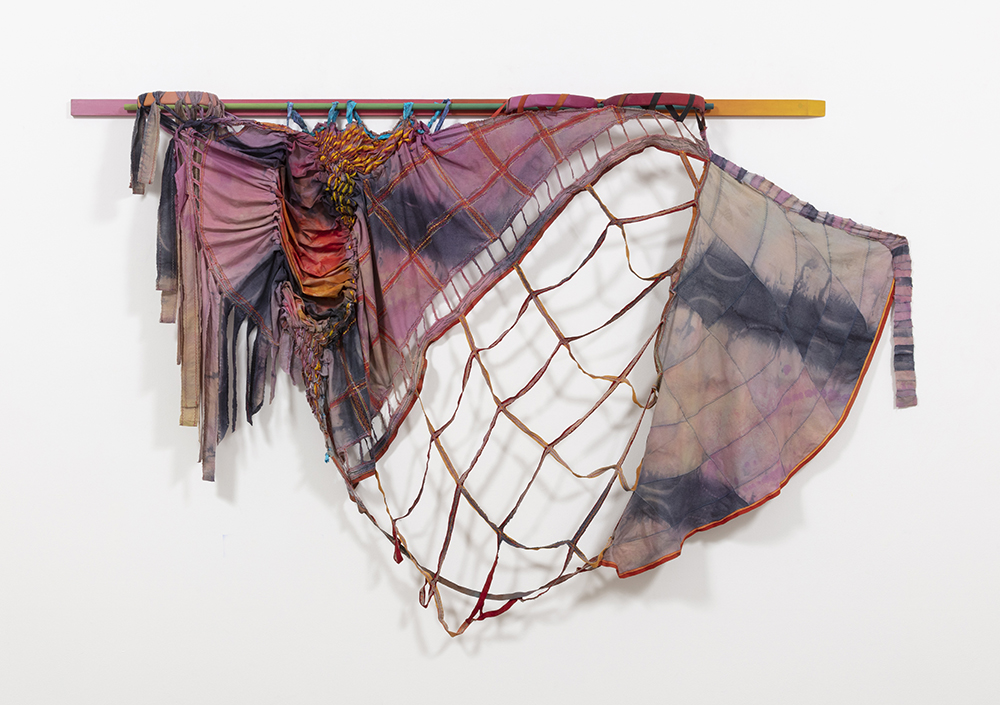 Gabrielle D'Angelo.<em> To Belong To More Than One Horizon</em>, 2019. Dyed cotton fabric, wood, 66 x 108 x 8 1/2 inches (167.6 x 274.3 x 2062.5 cm)