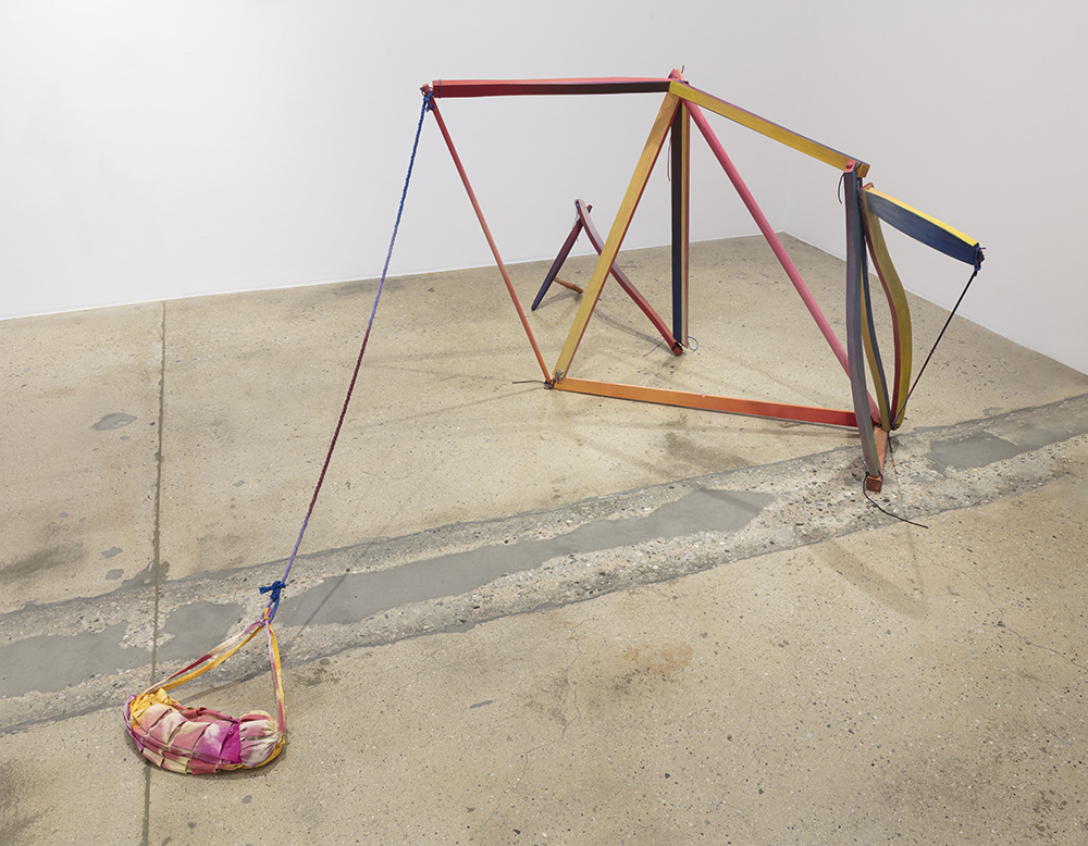 Gabrielle D'Angelo.<em> Moving Structure, #1</em>, 2019. Wood, milk paint, rope, sand, dyed cotton fabric, 10 x 5 x 4 inches (25.4 x 12.7 x 10.2 cm)