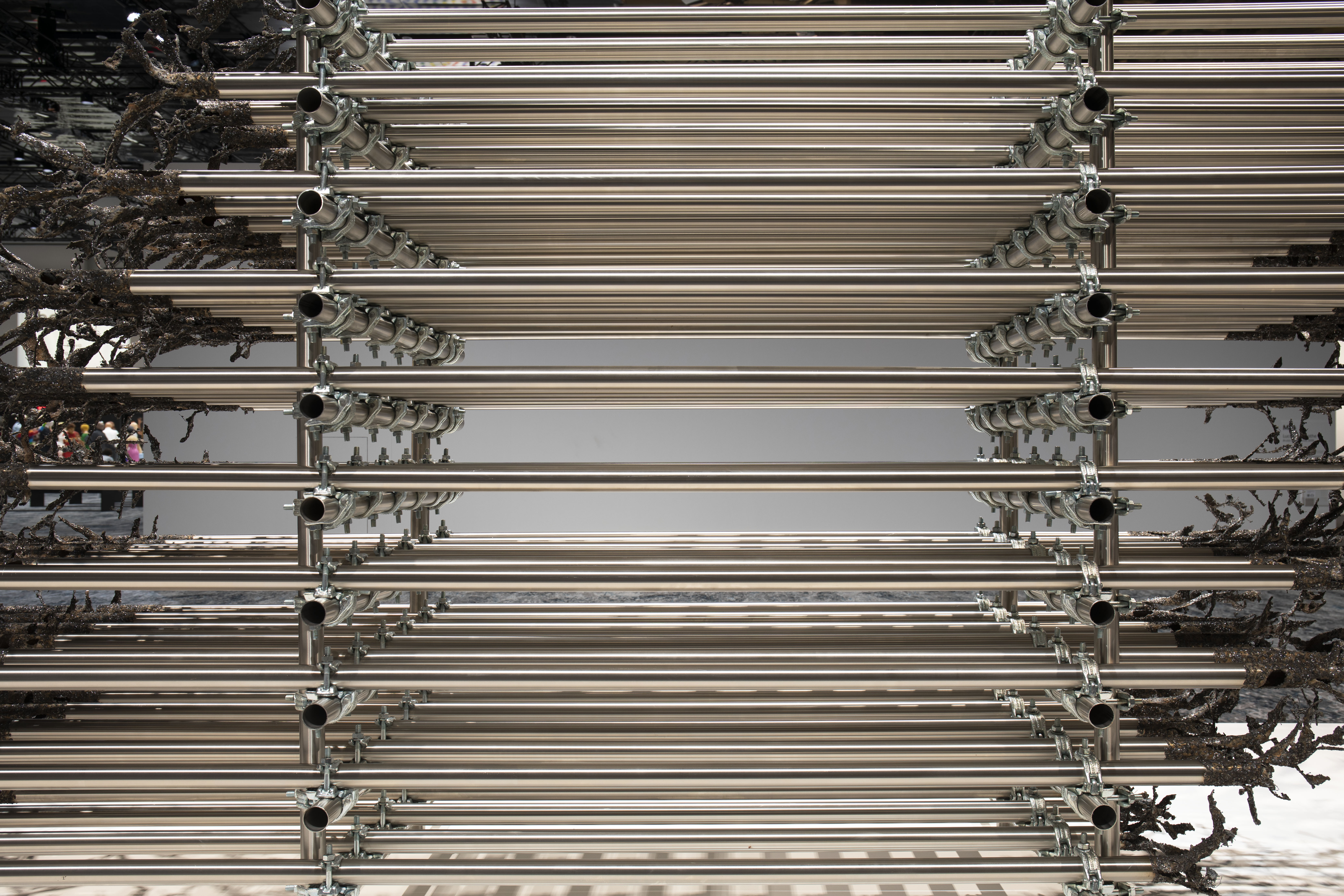 Luciana Lamothe.<em> Brutal Ambivalence</em>, 2019. Steel pipes and clamps, 76 3/4 x 236 1/4 x 47 1/4 inches (195 x 600 x 120 cm)