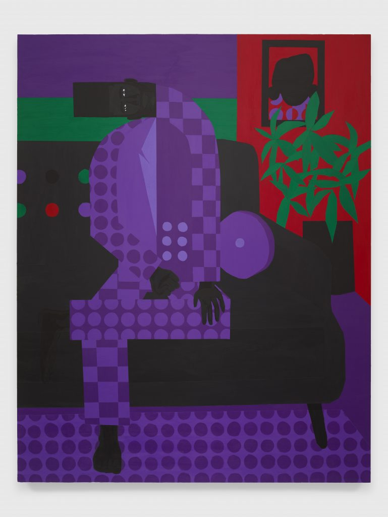 Jon Key, The Man in the Violet Suit No. 15 (Living Room), 2020 Acrylic on panel 60 x 48 inches (152.4 x 121.9 cm)