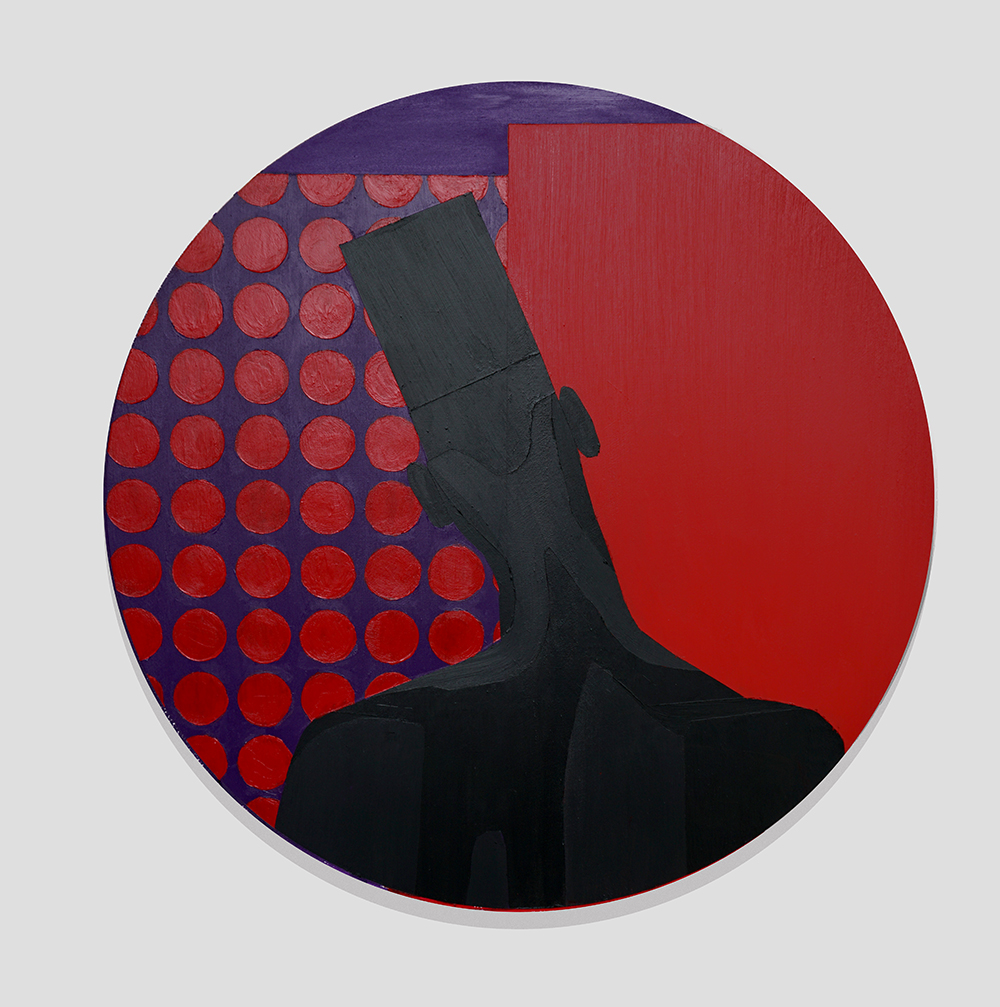 Jon Key.<em>The Man in the Red Room No. 1</em>, 2019. Acrylic on canvas, 28 x 28 inches (71.1 x 71.1 cm)