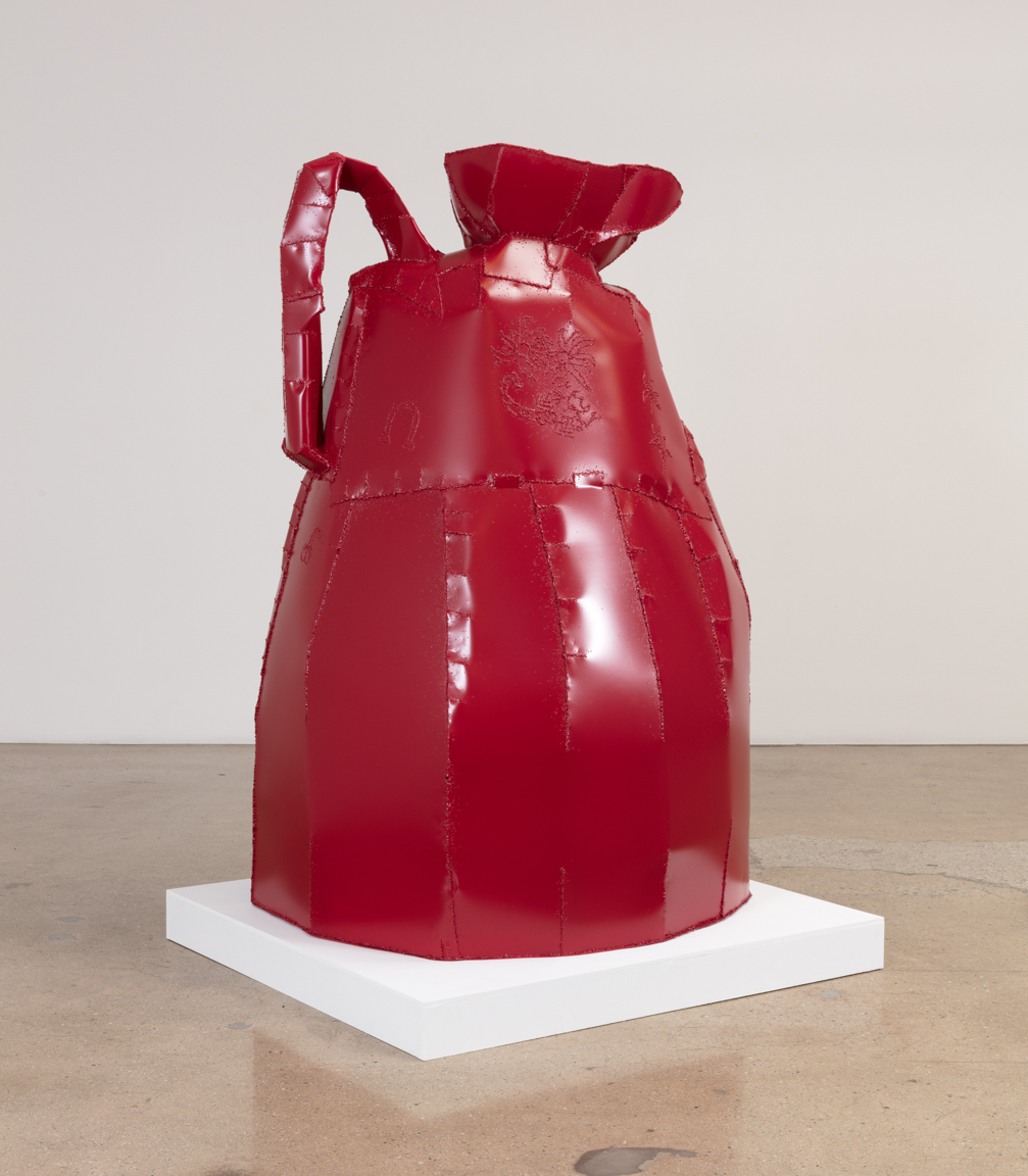Jesse Pollock. <em>Cherry Wine</em>, 2019. Welded steel, polyurethane paint, 80 x 48 x 48 inches (203.2 x 121.9 x 121.9 cm)