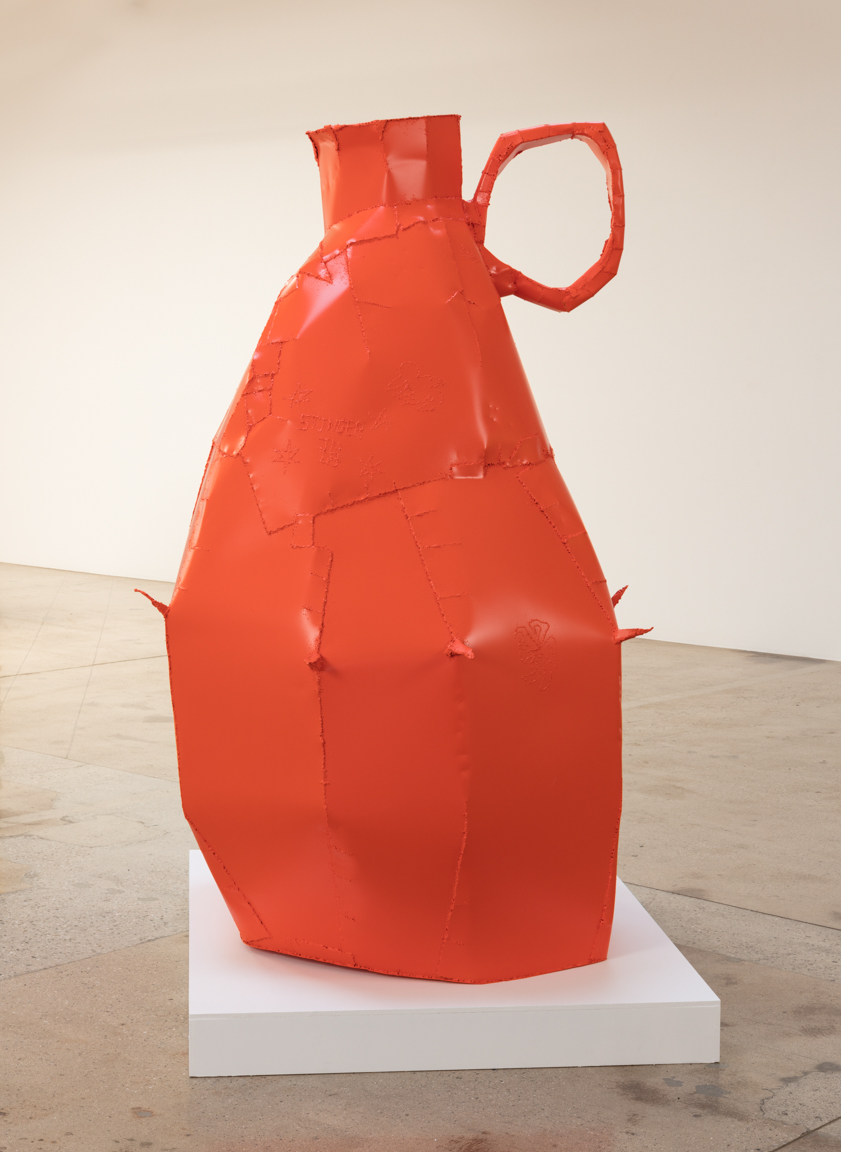 Jesse Pollock. <em>Stinger</em>, 2019. Welded steel, polyurethane paint, 80 x 56 x 51 inches (203.2 x 142.2 x 129.5 cm)