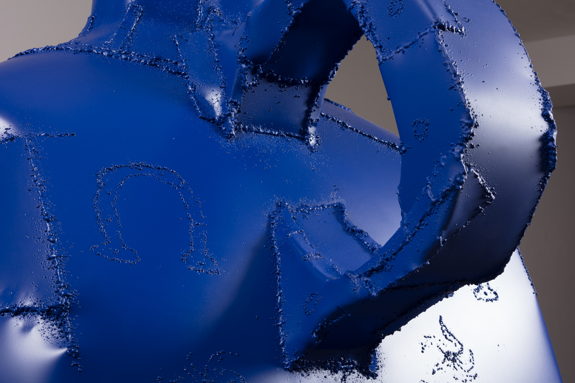 Jesse Pollock.<em>Lucky</em>, 2019. Welded steel, polyurethane paint, 86 x 42 x 42 inches (218.4 x 106.7 x 106.7 cm) Detail