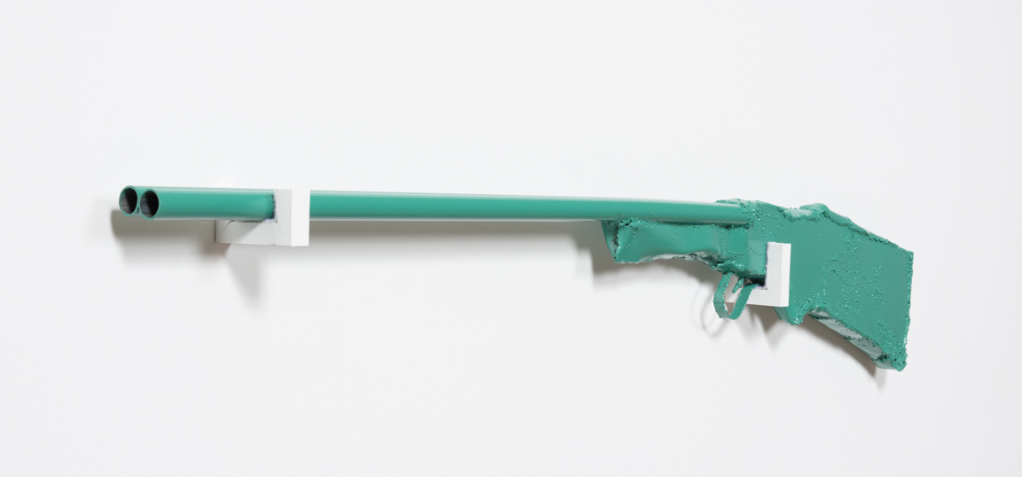 Jesse Pollock. <em>Daisy Shooter</em>, 2019. Welded steel, polyurethane paint, 54 1/2 x 7 x 2 inches (138.4 x 17.8 x 5.1 cm)