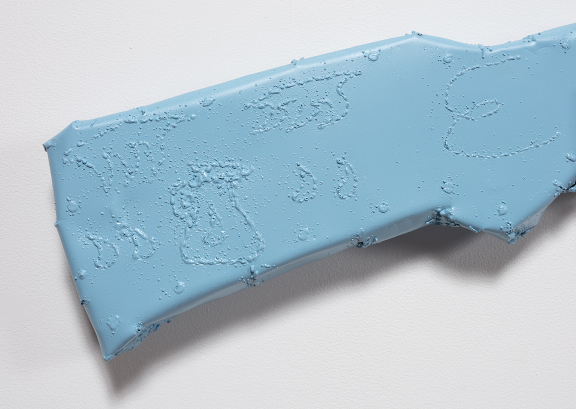 Jesse Pollock. <em>Bloody Shooter</em>, 2019. Welded steel, polyurethane paint, 54 1/2 x 7 x 2 inches (138.4 x 17.8 x 5.1 cm) Detail