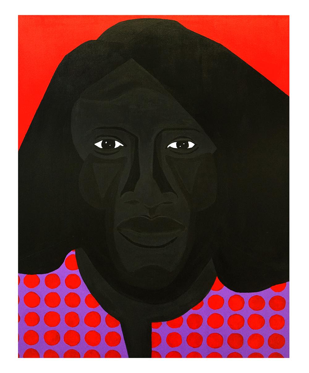 Jon Key. <em>Family Portrait No. 3 (Linda)</em>, 2020. Acrylic on canvas, 40 x 30 inches (101.6 x 76.2 cm)