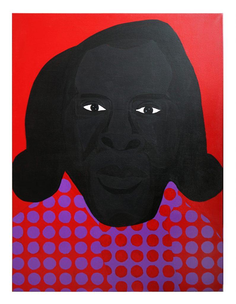 Jon Key. <em>Family Portrait No. 4 (Polka Dot)</em>, 2020. Acrylic on canvas, 40 x 30 inches (101.6 x 76.2 cm)