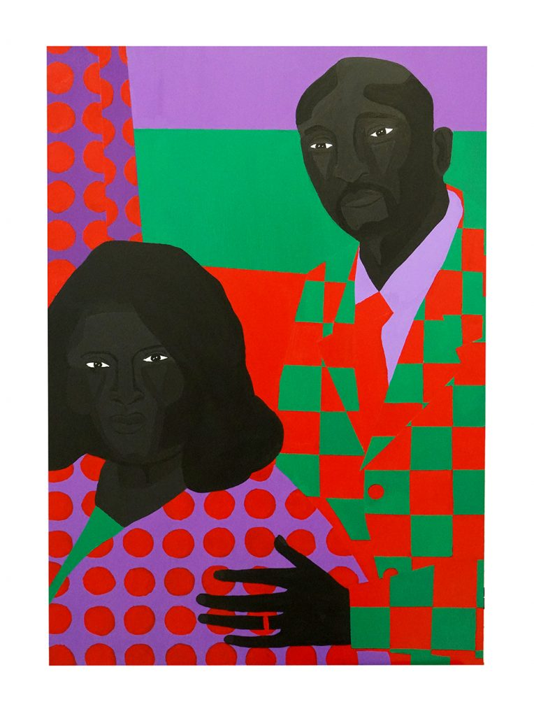 Jon Key. <em>Family Portrait No. 5 (Linda + Ken)</em>, 2020. Acrylic on panel, 36 x 24 inches (91.4 x 61 cm)